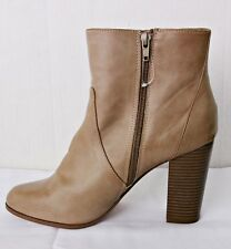 A+ by ALDO ISA WOMEN BEIGE TAUPE LEATHER ANKLE BOOTS BOOTIES SIZE 11 CHUNKY HEEL