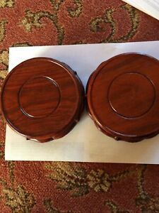 Oriental Chinese Wooden Wood Display Stands Plinth Base X 2