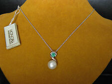 WHITE PEARL GREEN CZ CHAIN NECKLACE PENDANT SWIRL SS HONORA Valentine's Gift