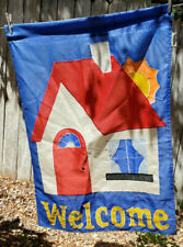 Welcome Banner House Flag Shop Store Garden 2-sided 28x39 Red White Blue Open