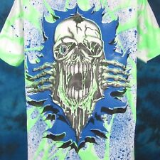 vintage 90s Skeleton Cartoon All-Over Print T-Shirt L/Xl skull biker punk skate