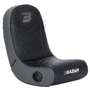 BraZen Floor Rocker Gaming Chair - Sabre 2.0 Bluetooth Speaker Sound - Grey