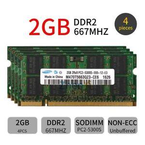 8GB 4x 2GB DDR2 667MHz PC2-5300S 200pin Laptop Memory SODIMM RAM For Samsung New