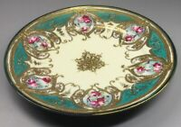 Nippon Porcelain Plate Gold Encrusted Hand Painted Roses - Japan