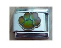 9mm  Italian Charm   Mood Paw Dog Cat  Changes Colour Fits Classic Size Bracelet