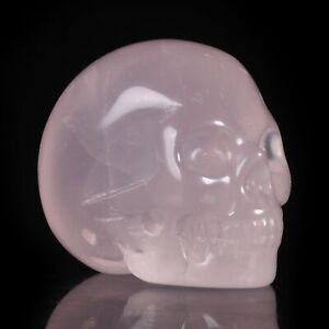 """1.5""""Natural Rose Quartz Crystal Carved Skull Metaphysic Healing#32N81"""