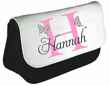 Personalised girls ladies Inital Butterfly Name Pencil Case make up bag school