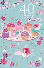 40 Today Celebrate 40th Cupcake & Bunting Design Modern Happy Birthday Card