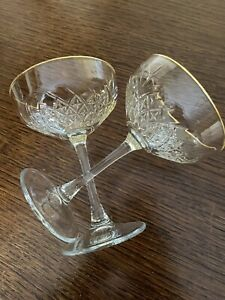 2 X Gold Rim Cocktail Gin Cut Glasses Champagne Saucers Timeless Vintage Style