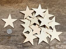 25 qty 3 inch Star Wood Flag Embellishments Shapes Crafts Ornaments Decor DIY
