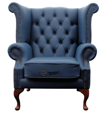 Chesterfield Armchair Queen Anne High Back Wing Chair Majolica Blue Leather