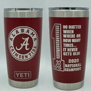 Yeti Rambler 20oz cup tumbler, Alabama National Champions, Brick Red