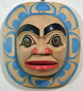 FIRST NATION ABORIGINAL FULL MOON TOTEMIC PLAQUE ~ w/ ABALONE SHELL EYE INSERTS