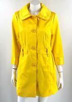 Dennis Basso Trench Coat Size Medium Canary Yellow 3/4 Sleeve Jacket NEW