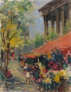 Vintage French Oil Painting Flower Market La Madeleine Paris Signed André Michel
