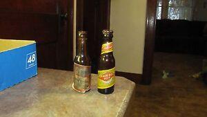 Lot 2 Antique Vintage Labeled Souvenir Sample Beer Bottles Budweiser,Grain Belt