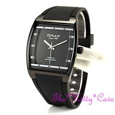 OMAX Slim Black Sporty SEIKO Y121 Movt Square Unisex Watch 4 Year D006