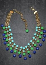 """Teal & Blue Beaded Woman's Gold Necklace - Stunning 16"""", Cluster, Gold Plated"""