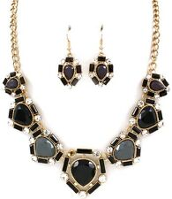 Vintage Style Black Grey Facet Tear Drops Crystal Accents Necklace Set