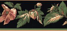 Floral on Black Classy Wallpaper Border