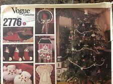 Vogue Pattern #2776 Tree Skirt,Wreath,Stocking,Ornaments,Pillow,Santa,Angel etc