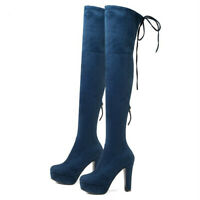 Women Shoes Platform Over The Knee High Heel Shoes Plartorm Lace Up Boots Size