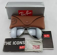 Ray-Ban AVIATOR Silver/ Silver Mirror Lens RB 3025 W3277 58mm Medium-Brand New