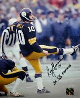 Roy Gerela Autographed Steelers 8x10 Kicking Photo 3x SB Champs inscribed, Jerse