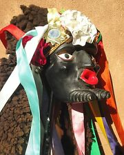 Fine Vintage Michoacán Mexican Wood Negrito Mask With Hide Ribbons Bells Mirrors