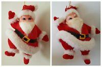 Vintage Flocked Christmas Ornament Santa Claus Lot Set Dancing Made in Hong Kong