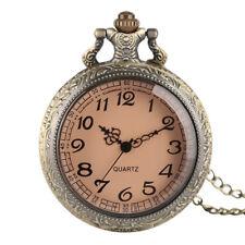 Elegant Quartz Pocket Watch Necklace Chain Pendant Dark Brown Glass Men Women