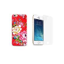 iPhone 5 / 5S / SE Coque gel fantaisie + 1 film verre trempé - Fleur / Rouge