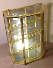 "VINTAGE BRASS GLASS JEWELRY VANITY DRESSER 9"" HIGH TRINKET BOX WITH SHELVES (C)"