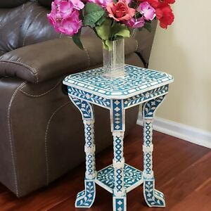 Floral Bone Inlay Blue 12 Inch Accent Table | End Table for living room