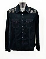 Guess Men's Vintage Button Down Shirt Embroidered Detail Black Size Large