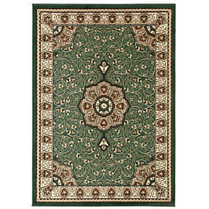 Think Rugs Diamond Traditional Central Medallion Design Tufted Green Rugs