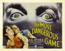 THE MOST DANGEROUS GAME Movie POSTER 22x28 Half Sheet B Joel McCrea Fay Wray