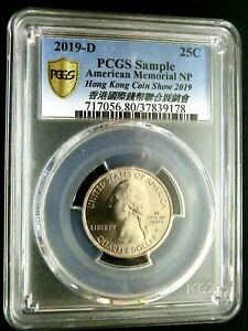 PCGS Sample Gold Shield-US 2019D 25 Cents For HK Coin Show 2019 GEMBU