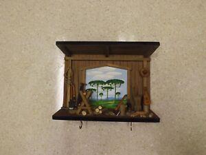 Wood Key Organizer Holder Wall Key Rack Hook Wooden Country Western Cabin Rustic