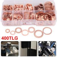 400x Dichtring Sortiment Set Kupfer Dichtungen Öl Kupferringe Kupferscheiben Box
