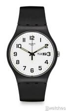 Swatch Twice Again Black Silicone Band Day Date Men Watch 42mm SUOB705