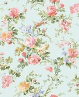 Wallpaper Designer Pink Gold Rose Blue Green Mini Floral Vine on Pearlized Green