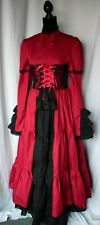 Medieval Renaissance Gothic Corset Dress Steampunk Cosplay Gown Blue Small