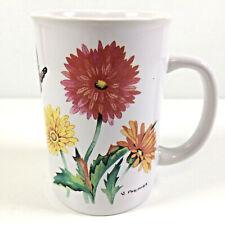 Floral Ceramic Mug Marigolds & Butterfly Art By Valerie Pfeiffer Capilano Canada