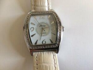 Ladies Diamond Leather Band Watch.