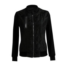Womens Quilted Puffer Bubble Ma1 Classic Padded Bomber Jacket Zip up Biker Coat Black 10