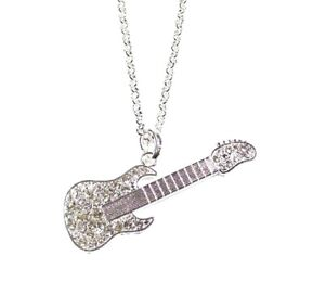 Silver Electric Guitar Music Musical Necklace Crystal Pendant Chain Women Girls