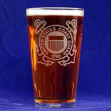 US Coast Guard 16oz etched Beer Glass set of 4