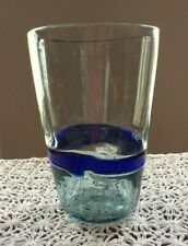 Large Blue Blown Glass Vase Vintage Italian heavy weigh