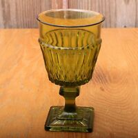 Vintage Indiana Glass Company Mt. Vernon Green Glass Goblet Wine Water